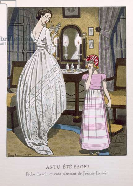 """Have You Been Good?"", evening dress and child's dress by Jeanne Lanvin (1867-1946), from the 'Gazette du Bon Ton' No.1, 1920 (pochoir print)"