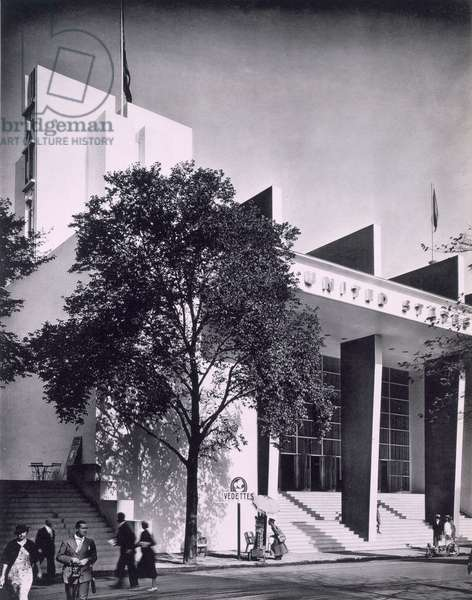 The American building at the Paris International Exposition, 1937 (b/w photo)