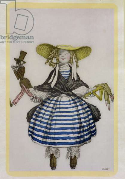 Costume for the Puppet Girl, from La Boutique Fantastique, 1917 (colour litho)