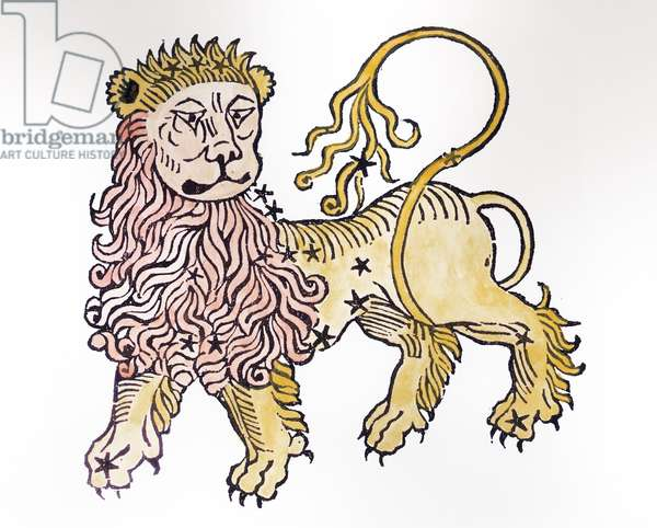 Leo (the Lion) an illustration from the 'Poeticon Astronomicon' by C.J. Hyginus, Venice, 1485 (woodcut) (later colouration)