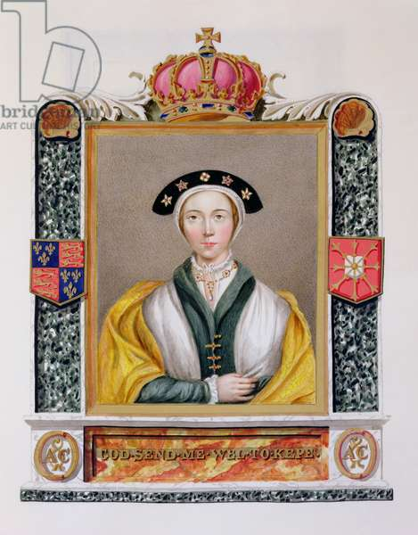 Portrait of Anne of Cleves (1515-57) 4th Queen of Henry VIII from 'Memoirs of the Court of Queen Elizabeth', published in 1825 (w/c and gouache on paper)