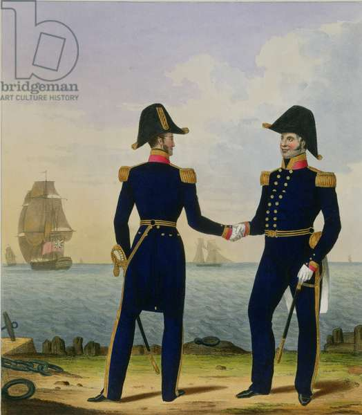 Captains, plate 5 from 'Costume of the Royal Navy and Marines', engraved by the artists, c.1830-37 (colour litho)