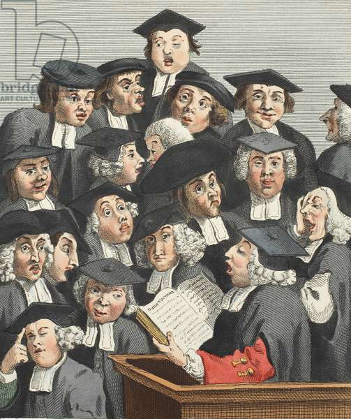 The Lecture, illustration from 'Hogarth Restored: The Whole Works of the celebrated William Hogarth, re-engraved by Thomas Cook', pub. 1812 (hand-coloured engraving)