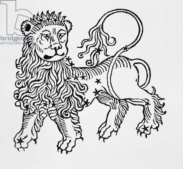 Leo (the Lion) an illustration from the 'Poeticon Astronomicon' by C.J. Hyginus, Venice, 1485 (woodcut)