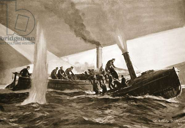 The men of the 'Majestic' being taken aboard the 'Triumph's' picket-boat (litho)