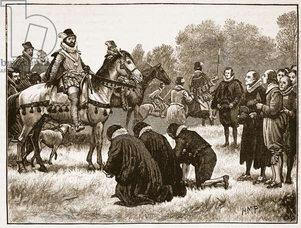 The dissenting divines presenting their petition to James, illustration from 'Cassell's Illustrated History of England' (engraving) (sepia photo)