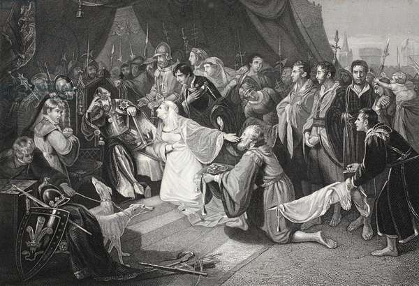 The Surrender of Calais, 4th August 1347, engraved by John Young (litho)