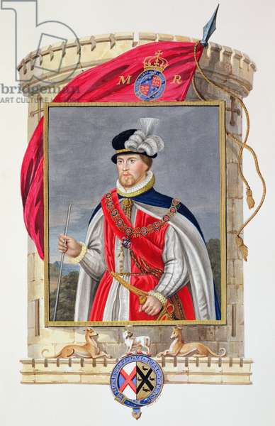 Portrait of John Dudley (1502?-53) Duke of Northumberland from 'Memoirs of the Court of Queen Elizabeth', published in 1825 (w/c and gouache on paper)
