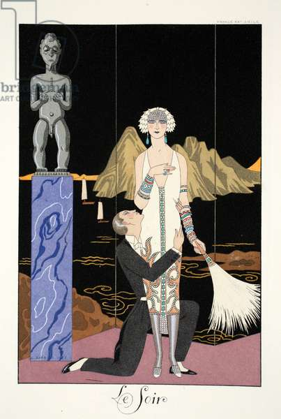 Evening, from 'Falbalas & Fanfreluches, Almanach des Modes Présentes, Passées et Futures', 1926 (colour litho)