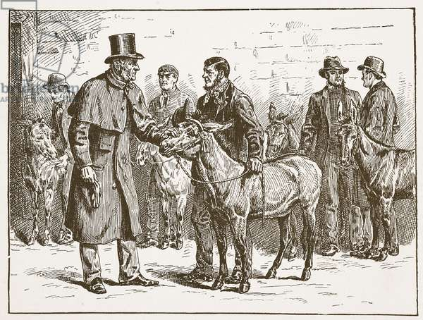 Lord Shaftesbury inspecting a costermongers' Donkey Show, illustration from 'The Church of England: A History for the People' by H.D.M. Spence-Jones, pub. c.1910 (litho) (sepia photo)