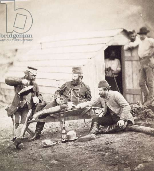 Hardships in the Camp (Colonel Lowe and Captains Brown and George), 1855 (albumen print from wet collodion negative)