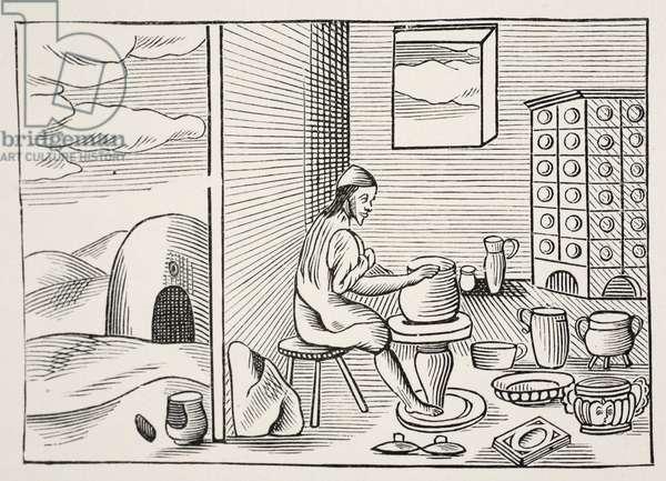A potter, from 'Orbis Sensualium Pictus', pub. 1658 (woodcut)