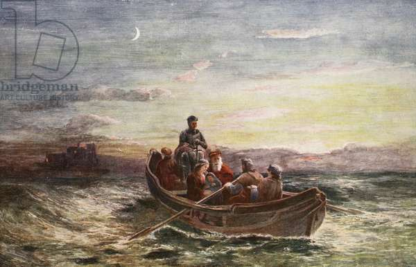 The escape of Mary Queen of Scots from Loch Leven Castle, illustration from 'Hutchinson's Story of the British Nation', c.1923 (colour litho)