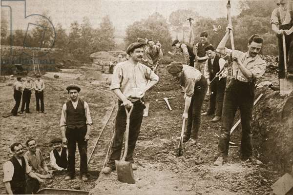 Conscientious Objectors usefully employed: Men of the N.C.C. on a military road, illustration from 'The Illustrated War News', 23rd August 1917 (sepia photo)