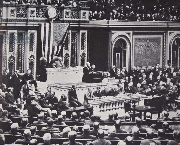 Woodrow Wilson in Congress recommending war against Germany, 1917 (b/w photo)