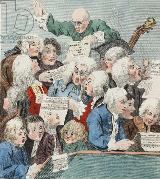 The Chorus or Rehearsal of the Oratorio of Judith, illustration from 'Hogarth Restored: The Whole Works of the celebrated William Hogarth, re-engraved by Thomas Cook', pub. 1812 (hand-coloured engraving)
