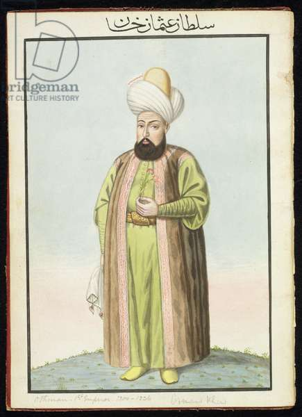 Othman (Osman) I (1259-1326), founder of the Ottoman empire, Sultan 1299-1326, from 'A Series of Portraits of the Emperors of Turkey', 1808 (w/c)
