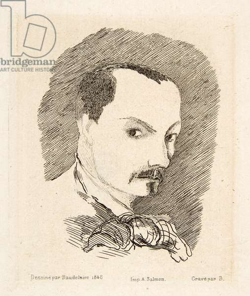 Self Portrait of Charles Baudelaire, pub. 1869 (etching)