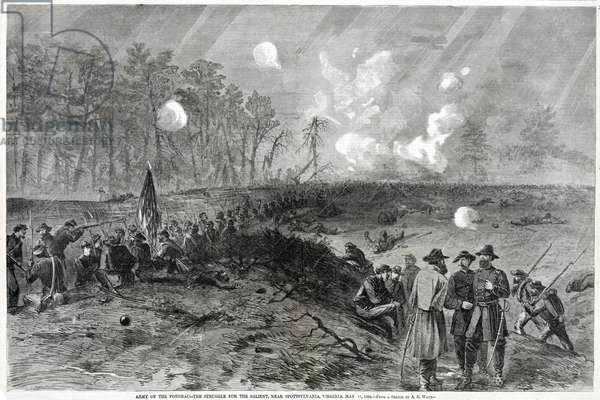 Army of the Potomac--The Struggle for the Salient, near Spottsylvania, Virginia. May 12, 1864, from Harper's Weekly, pub. 1864 (litho)