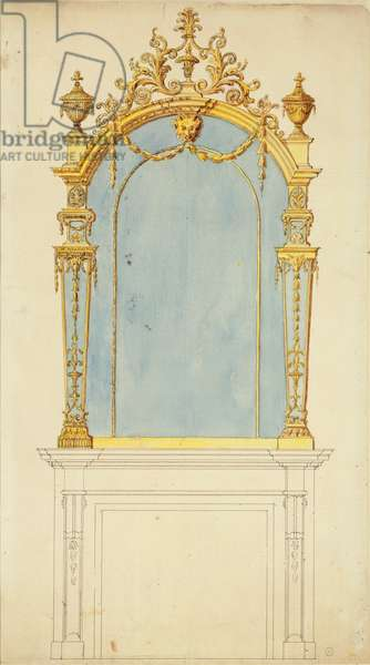 Design for a giltwood mirror, c.1765-70 (pen & ink with w/c on paper)