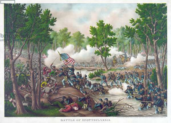 Battle of Spotsylvania, pub. Kurz & Allison, 1888 (colour litho)