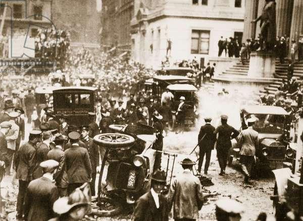 Bomb damage outside J.P. Morgan & Co, 16th September 1920 (sepia photo)