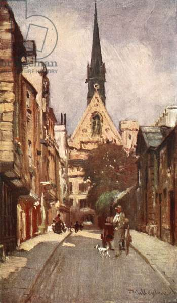 Exeter College Chapel, from Ship Street, 1903 (colour litho)