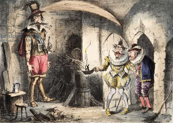 Discovery of Guido Fawkes by Suffolk and Monteagle, from The Comic History of England, pub. 1864 (hand coloured etching)
