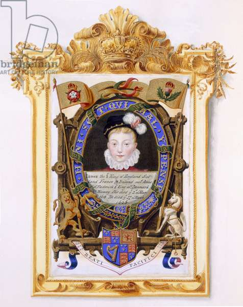 Portrait of James VI of Scotland (1566-1625) Later James I of England as a boy c.1574 from 'Memoirs of the Court of Queen Elizabeth', published in 1825 (w/c and gouache on paper)