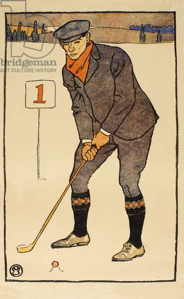 January , detail from 1931 Golfing Calendar, pub. 1931 (colour lithograph)