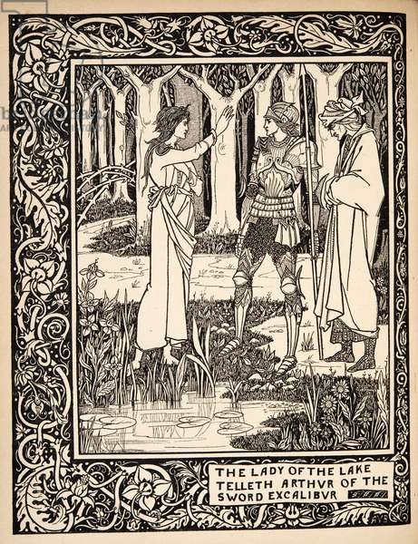 The Lady of the Lake Telleth Arthur of the Sword Excalibur, Illustration (detail) from 'Le Morte d'Arthur' by Thomas Malory, pub.1894 (engraving)