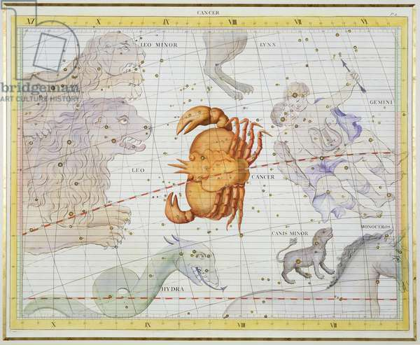 Constellation of Cancer, plate 4 from 'Atlas Coelestis', by John Flamsteed (1646-1710), published in 1729 (hand coloured engraving)