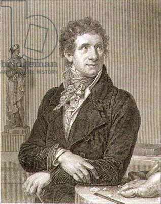 Portrait of Antonio Canova (1757-1822) engraved by William Henry Worthington (c.1790-p.1839) (engraving)