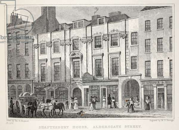 Shaftesbury House, Aldersgate Street, from 'London and it's Environs in the Nineteenth Century' pub. Jones & Co., 1827-1829 (engraving)