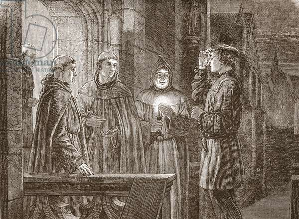 Luther entering the Augustinian convent, illustration from 'The History of Protestantism' by James Aitken Wylie (1808-1890), pub. 1878 (engraving)