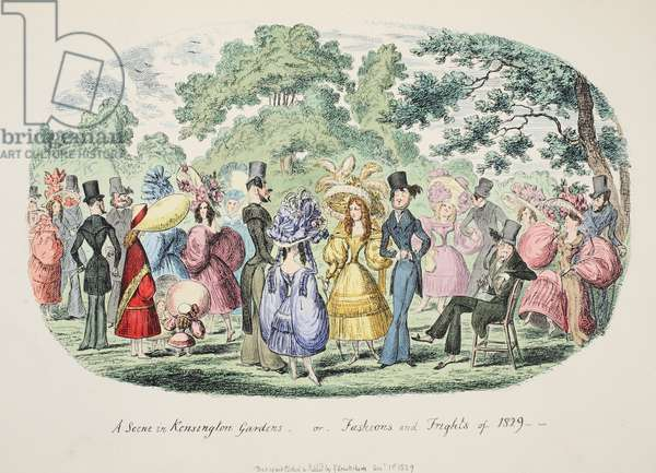 A Scene in Kensington Gardens - or - Fashions and Frights of 1829, pub. 1829 (hand coloured engraving)