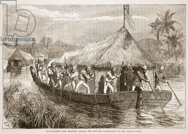 Blue-Jackets and Marines Poling the British expedition up the Perak River, illustration from 'Cassell's Illustrated History of England' (engraving)