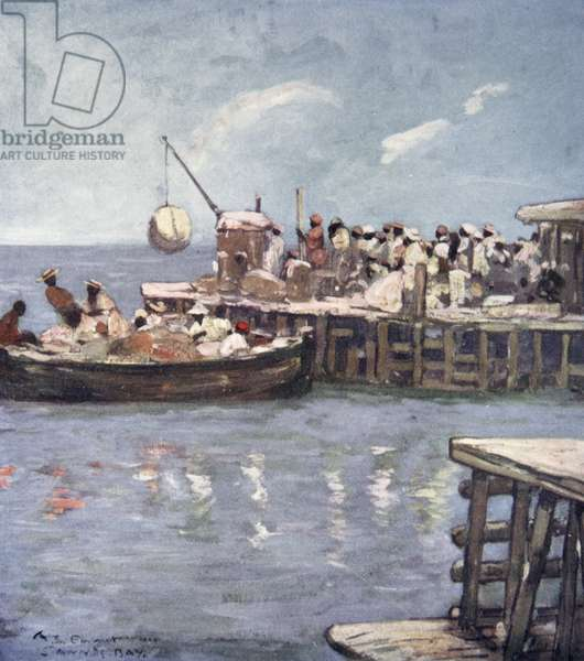 A Quay, St Ann's Bay, Jamaica, from a portfolio of privately printed watercolours of 'The West Indies' (colour litho)
