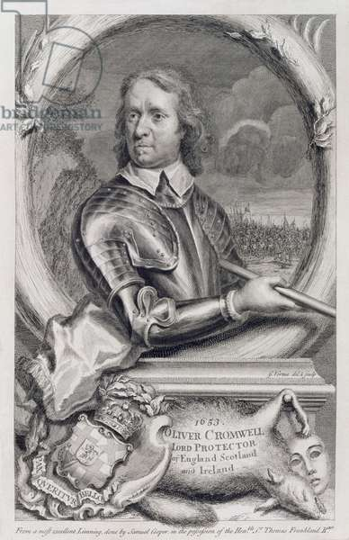 Oliver Cromwell (1599-1658) Lord Protector of England, Scotland and Ireland in 1653, engraved by George Vertue (1684-1756) (engraving)