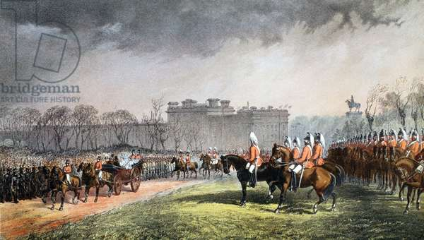 Hyde Park - The Princess passing the lines of the volunteers, 7th March 1863, from 'A Memorial of the Marriage of Edward VII and Alexandra of Denmark', pub. 1864 (chromolitho)
