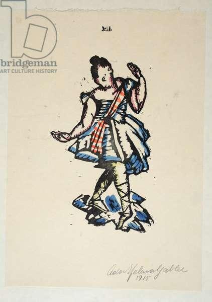 The Ballet Dancer, Plate 12, Book 5, illustration from 'Wiener Werkstatte Mode 1914/15', pub. Eduard Kosmack, Vienna, 1914-1915 (hand-coloured linocut)