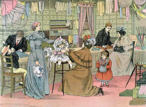 The Haberdasher, from 'The Book of Shops', 1899 (colour litho)