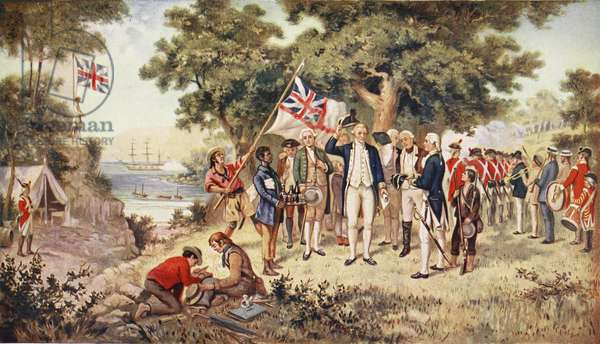 Captain Cook taking possession of New South Wales, 1770, illustration from 'Hutchinson's Story of the British Nation', c.1923 (colour litho)