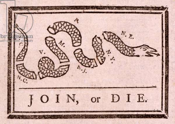 Join, or Die, pub. 1754 (woodcut)