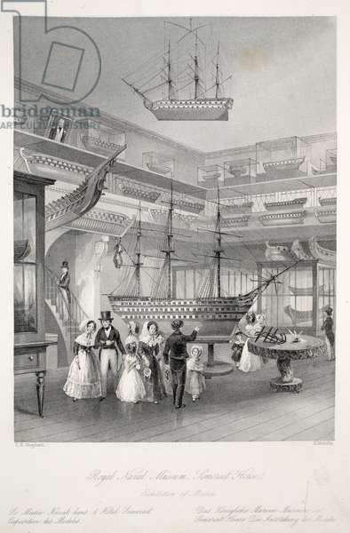 Royal Naval Museum, Somerset House, from 'London Interiors with their Costumes and Ceremonies' pub. Joseph Mead, London, c.1843 (steel engraving)