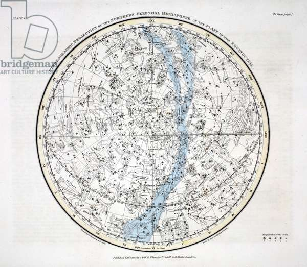 The Northern Hemisphere, from 'A Celestial Atlas' by Alexander Jamieson, pub. London 1822 (hand coloured engraving)