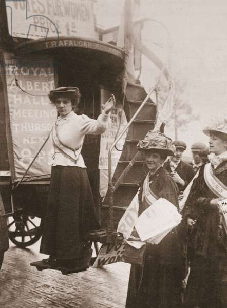 Barbara Ayrton campaigning on the Votes for Women bus, October 1909 (sepia photo)