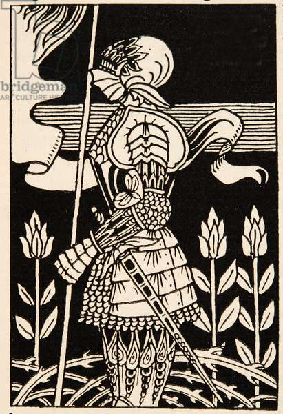 Knight of Arthur, preparing to go into battle, Illustration from 'Le Morte d'Arthur' by Thomas Malory, pub.1894 (engraving)