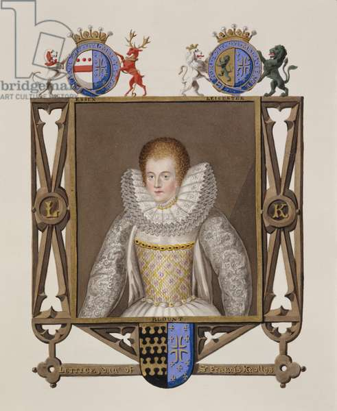 Portrait of Lettice Knollys (c.1541-1634) Daughter of Sir Francis Knollys from 'Memoirs of the Court of Queen Elizabeth', published in 1825 (w/c and gouache on paper)