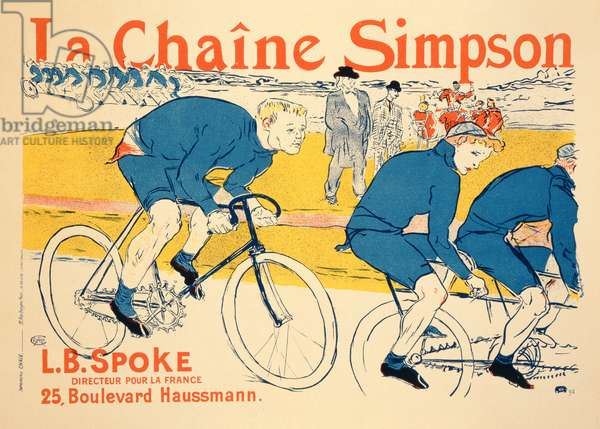 Reproduction of a poster advertising 'The Simpson Chain', Paris, 1896 (colour litho) (see SSI 39945)